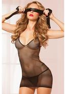 Why Knot Chemise Thong And Tie-black-os