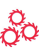 Renegade Gears Silicone Cock Ring Set 3 Each Per Set Red