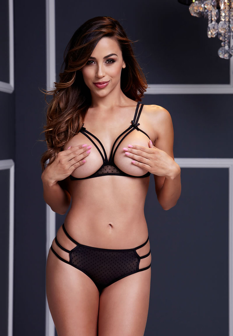 Black Strappy Open Cup Bra Set W Panty